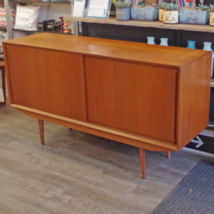 Mid Century Danish Teak Sideboard with Finished Back