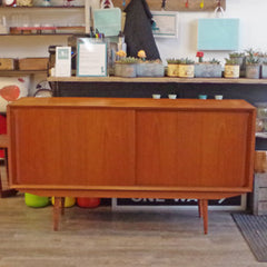 Mid Century Danish Teak Sideboard with Finished Back - Vintage Home Boutique - 1