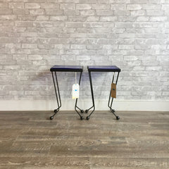 Atomic Black Metal And Blue Glass Side Tables