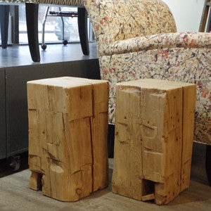 Barn Beam Cube Side Table - Vintage Home Boutique - 5
