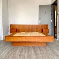 Beautiful Mid-Century Teak Queen Bed Frame With Floating 2 Drawer Side Tables