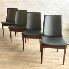 British Mid Century Teak And Rosewood Shield Back Dining Chairs