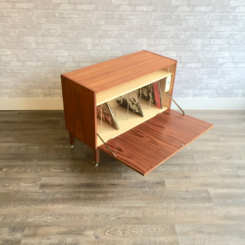 Danish Mid-Century Teak Record Media Cabinet With Finished Back