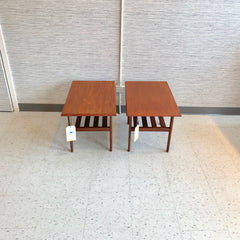 Canadian Mid-Century Modern Teak Side Tables With Shelf