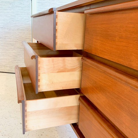 Canadian Mid-Century Modern Walnut 9 Drawer Dresser