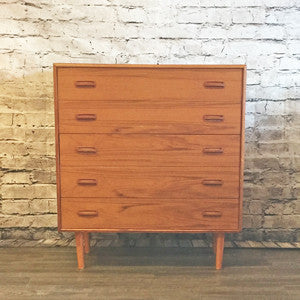 Mid Century Teak 5 Drawer Chest By Clausen and Son