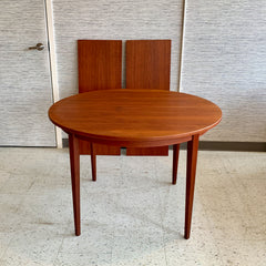 Compact Danish Mid-Century Round Teak Extending Dining Table
