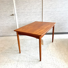 Compact Danish Modern Surfboard Extending Dining Table In Teak