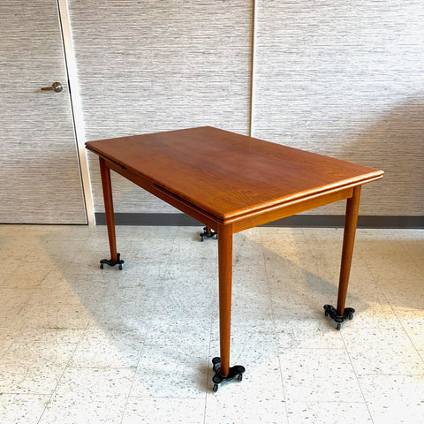 Compact Danish Modern Teak Extending Draw Leaf Dining Table By Borge Mogensen