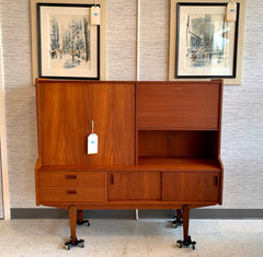 Compact German Mid-Century Modern Teak Credenza Or Highboard