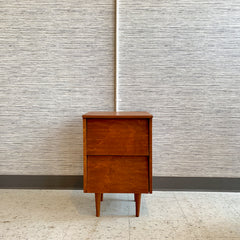 Compact Mid-Century Modern Teak Nightstand With 2 Drawers