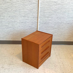 Compact Mid-Century Modern Teak Side Table With 3 Drawers