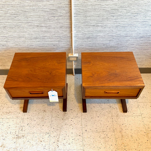 Compact Mid-Century Modern Teak Single Drawer Nightstands
