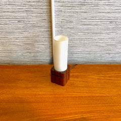 Compact Mid-Century Teak Base Bedside Lamp With Milk Glass Shade.