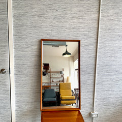 Compact Mid-Century Teak Frame Mirror With Beveled Mitre Edge