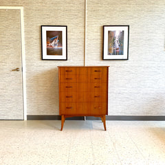 Compact British Mid-Century Tall Dresser Or Chest