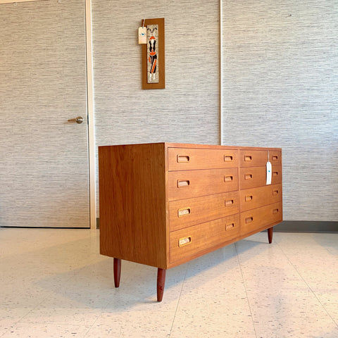 Compact Danish Modern Teak 8 Drawer Cabinet By Poul Hundevad Co.