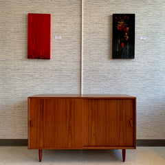 Compact Danish Modern Teak Sideboard Or Media Cabinet