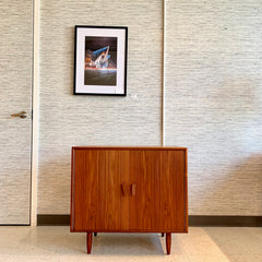 Compact Mid-Century Modern Teak Bar Cabinet With Light