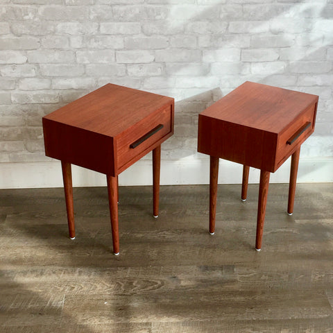 Compact Mid-Century Modern Teak Side Tables with Drawer
