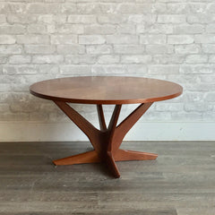 Compact Mid-Century Modern Round Teak Coffee Table By Georg Jensen