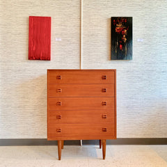 Compact Mid-Century Teak Tall Dresser Or Chest