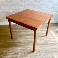 Compact Square Danish Mid-Century Teak Extending Dining Table