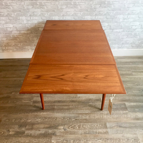 Compact Square Mid-Century Teak Extending Dining Table