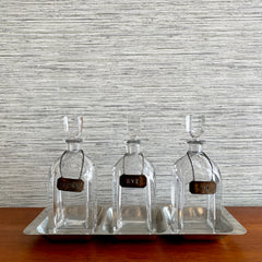 Crystal 3 Bottle Decanter And Tray Set