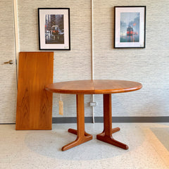 Danish Mid-Century Modern Round Extending Dining Table In Teak