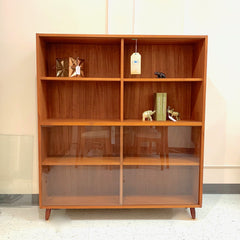 Danish Mid-Century Teak Bookcase With Removable Glass Doors