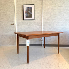 Danish Mid-Century Teak Extending Dining Table With Self Storing Leaves