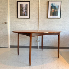 Danish Modern Oval Extending Dining Table In Teak
