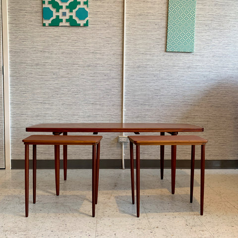 Danish Modern Teak Coffee Table With Built In Side Tables By Jason Mobler