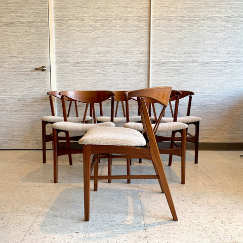 Danish Modern Teak Cowhorn Dining Chairs