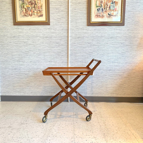 Danish Modern Teak Rolling And Folding Cart