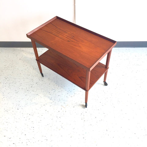 Danish Mid-Century Solid Teak Rolling Bar Cart By Poul Hundevad