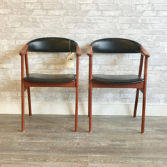 Danish Mid Century Teak and Leather Armchairs