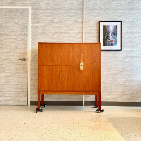 Danish Mid-Century Teak Bar Cabinet And Credenza