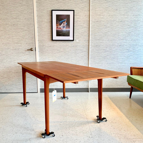 Danish Mid-Century Teak Extending Dining Table by Henning Kjaernulf