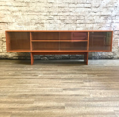 Danish Mid-Century Teak Low Sideboard With Finished Back