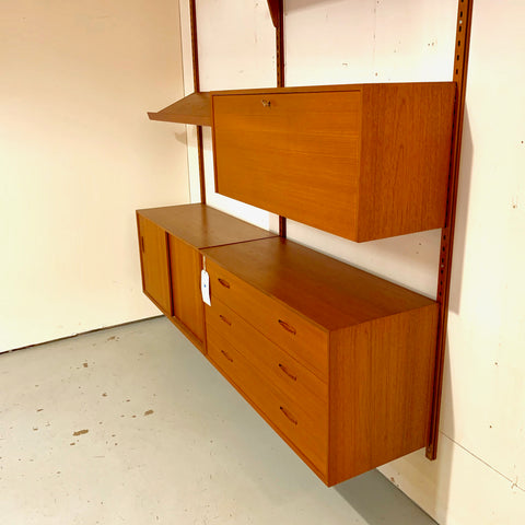Danish Mid-Century Teak Wall Unit With 2 Sections.