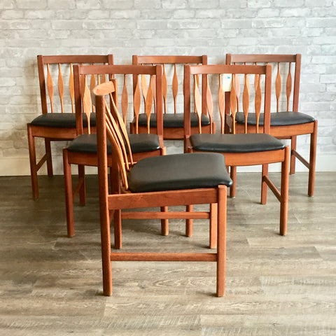 Danish Mid Century Teak Peacock Spindle Dining Chairs