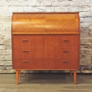 Swedish Mid Century Teak Roll Top Secretary Desk