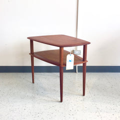 Danish Mid Century Teak Side Table with Cane Shelf by Peter Hvidt