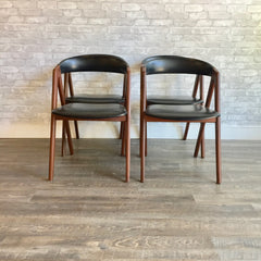 Danish Modern A Frame Dining Chairs In African Teak