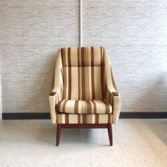 Danish Modern High Back Lounge Chair With Teak Accents