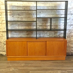 Danish Modern Mid-Century Teak Open Back Bookshelf with Storage
