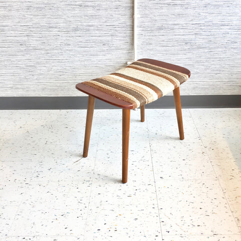 Danish Modern Ottoman With Racing Stripe Upholstery