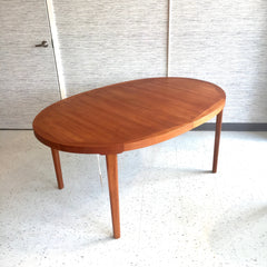 Danish Modern Oval Extending Teak Dining Table By Dyrlund